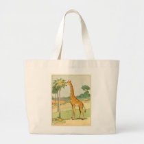 African Giraffe Eating Acacia Leaves Large Tote Bag
