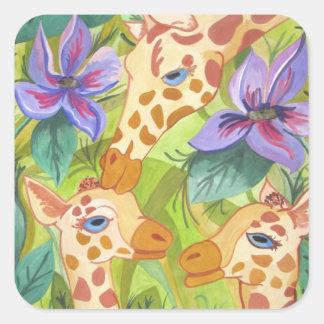 African Giraffe Kisses (Kimberly Turnbull Art) Square Sticker
