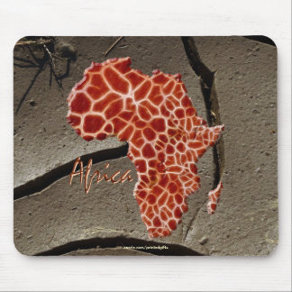 African Giraffe Map of AFRICA on Mud Texture Mouse Pad
