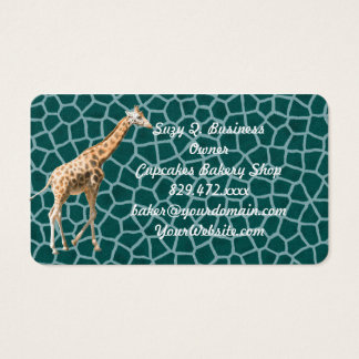 African Giraffe on Blue Camouflage Business Card