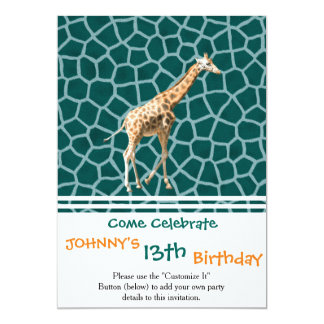 African Giraffe on Blue Camouflage Card