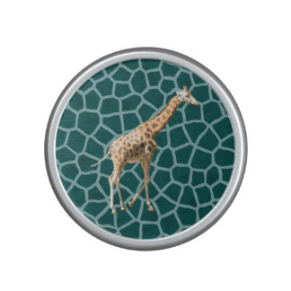African Giraffe on Blue Camouflage Bluetooth Speaker