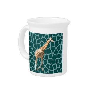 African Giraffe on Blue Camouflage Drink Pitcher