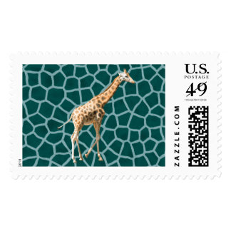 African Giraffe on Blue Camouflage Postage