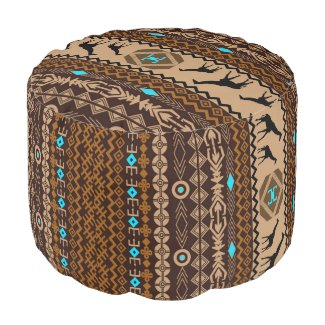 African Giraffes With Brown Tribal Pattern Round Pouf
