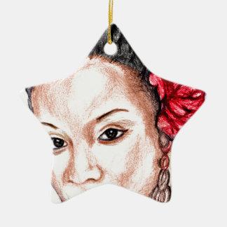 African Girl Ceramic Ornament