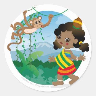 African girl classic round sticker