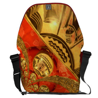 African Golden red traditional art Messenger Bag