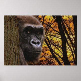 African Gorilla Great Ape & Forest Art Poster