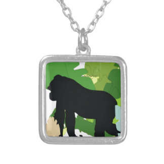 African gorilla silver plated necklace