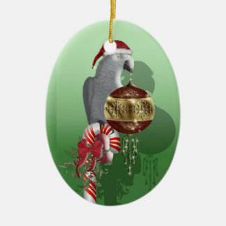 African Gray Double-Sided Oval Ceramic Christmas Ornament
