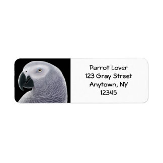 African Gray Parrot Head Label