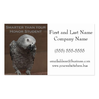 African Gray Parrot Smarter Than Your Honor Studen Double-Sided Standard Business Cards (Pack Of 100)