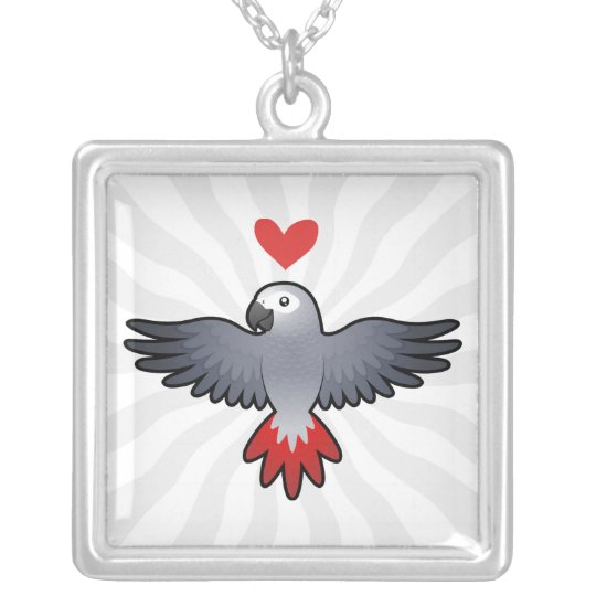 African Grey / Amazon / Parrot Love Silver Plated Necklace