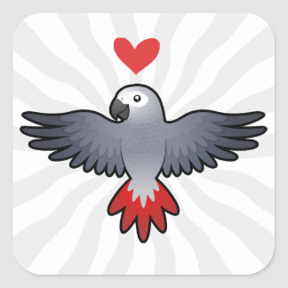 African Grey / Amazon / Parrot Love Square Sticker