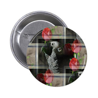 African Grey and Geometric Red Roses Button