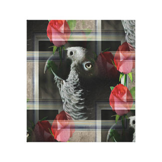 African Grey and Geometric Red Roses Canvas Print