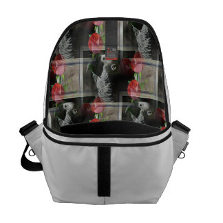African Grey and Geometric Red Roses Courier Bag