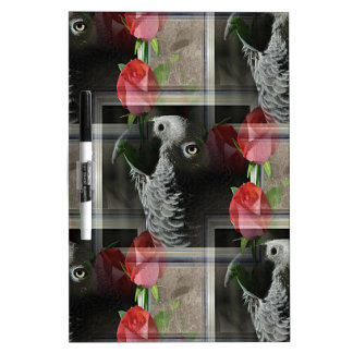 African Grey and Geometric Red Roses Dry-Erase Board