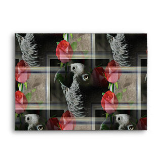 African Grey and Geometric Red Roses Envelope