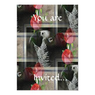 African Grey and Geometric Red Roses 5x7 Paper Invitation Card