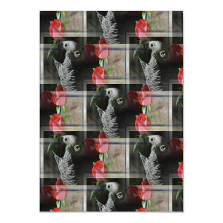African Grey and Geometric Red Roses Magnetic Card