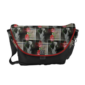 African Grey and Geometric Red Roses Messenger Bag