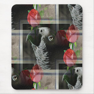 African Grey and Geometric Red Roses Mouse Pad