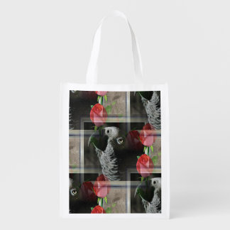African Grey and Geometric Red Roses Reusable Grocery Bag