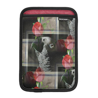 African Grey and Geometric Red Roses Sleeve For iPad Mini