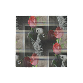 African Grey and Geometric Red Roses Stone Magnet
