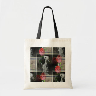 African Grey and Geometric Red Roses Tote Bag