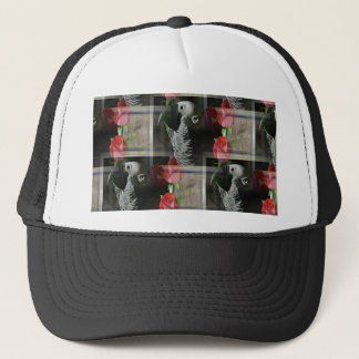 African Grey and Geometric Red Roses Trucker Hat