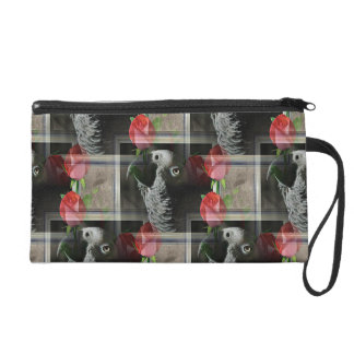 African Grey and Geometric Red Roses Wristlet