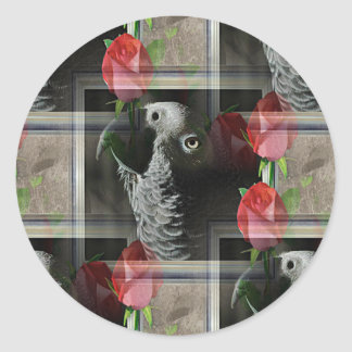 African Grey and Red Roses Round Stickers