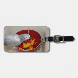 African Grey and Sweet Peppers Bag Tag