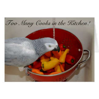 African Grey and Sweet Peppers Card