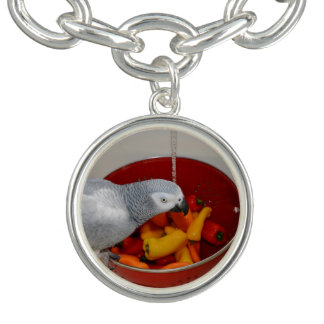 African Grey and Sweet Peppers Charm Bracelets