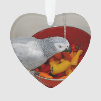 African Grey and Sweet Peppers Ornament
