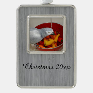 African Grey and Sweet Peppers Silver Plated Framed Ornament