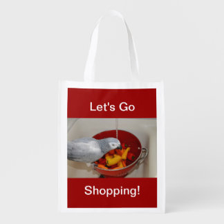 African Grey and Sweet Peppers Reusable Grocery Bags
