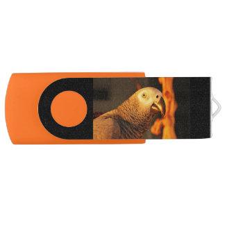 African Grey Golden Sunset Swivel USB 3.0 Flash Drive