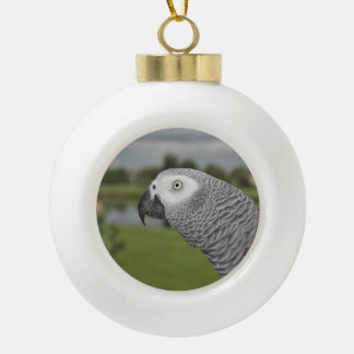 African Grey Lakeside Ceramic Ball Christmas Ornament