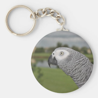 African Grey Lakeside Keychain