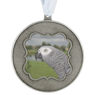 African Grey Lakeside Pewter Ornament
