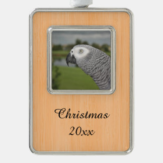 African Grey Lakeside Silver Plated Framed Ornament