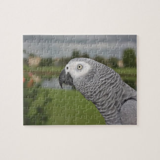 African Grey Lakeside Jigsaw Puzzle