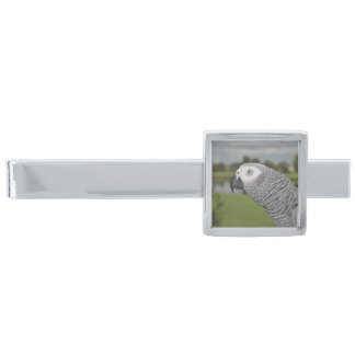 African Grey Lakeside Silver Finish Tie Bar
