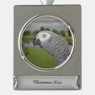 African Grey Lakeside Silver Plated Banner Ornament