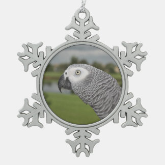 African Grey Lakeside Snowflake Pewter Christmas Ornament